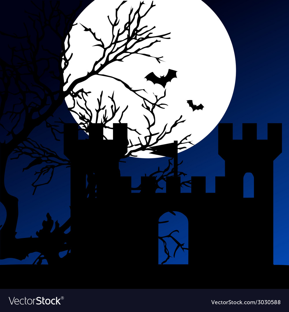 Castle on a moonlight color vector | Price: 1 Credit (USD $1)