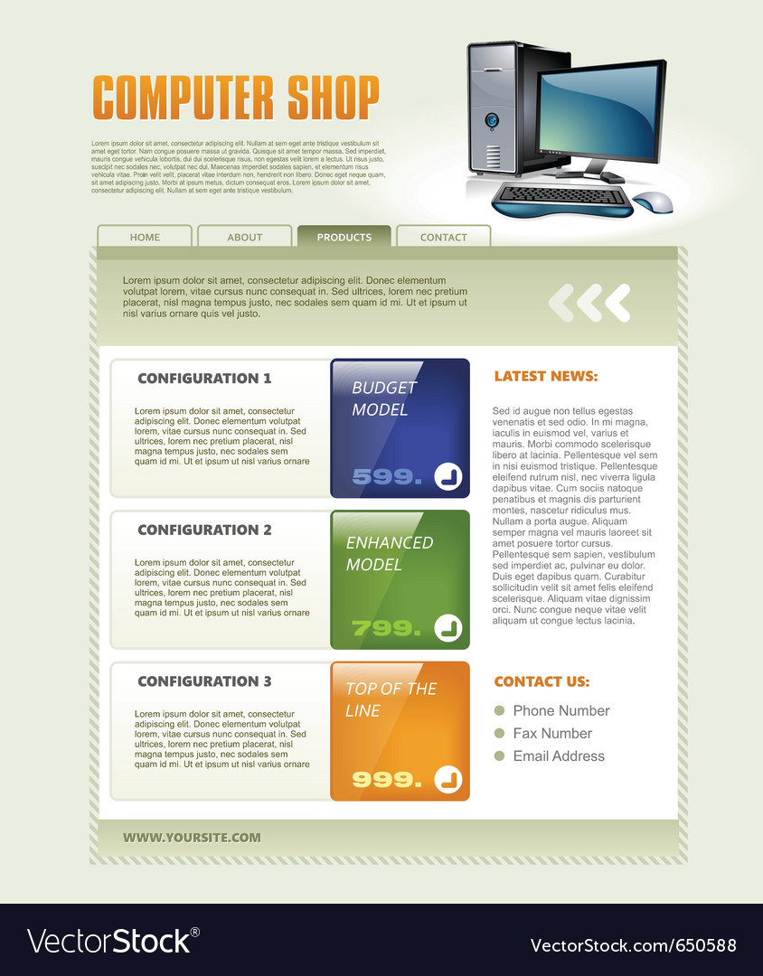 Computer shop web page template detailed vector | Price: 3 Credit (USD $3)