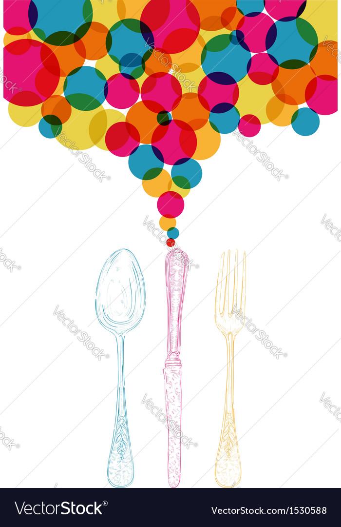 Diversity colors retro cutlery sketch style vector | Price: 1 Credit (USD $1)