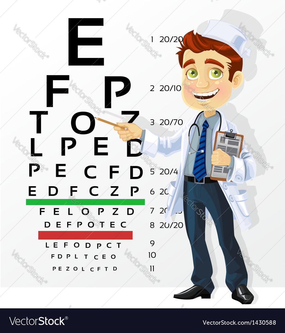 Doctor - optometrist testing visual acuity vector | Price: 3 Credit (USD $3)
