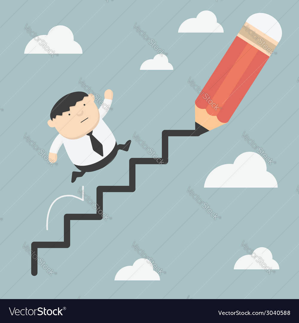 Fat business climbs the ladder of success vector | Price: 1 Credit (USD $1)