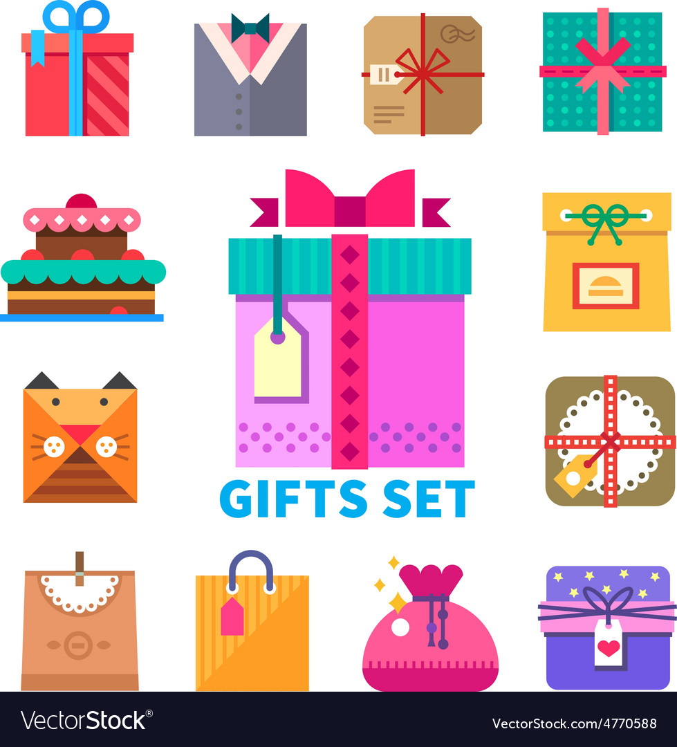 Gifts set in flat style vector | Price: 1 Credit (USD $1)