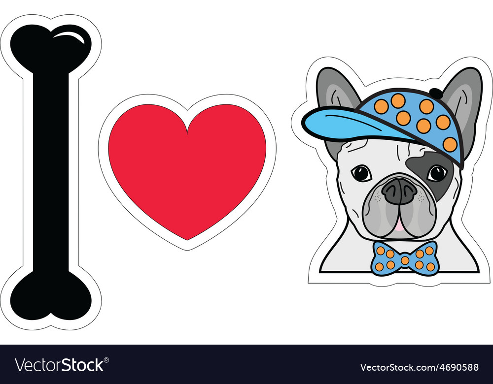I love french bulldog hipster with a hat vector | Price: 1 Credit (USD $1)