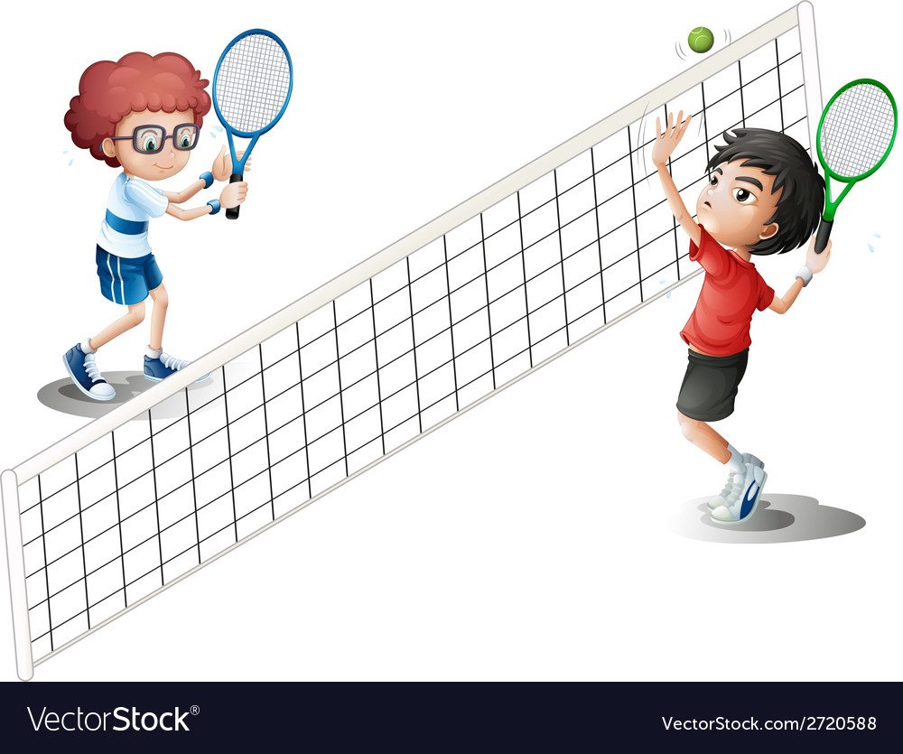 Kids playing tennis vector | Price: 1 Credit (USD $1)