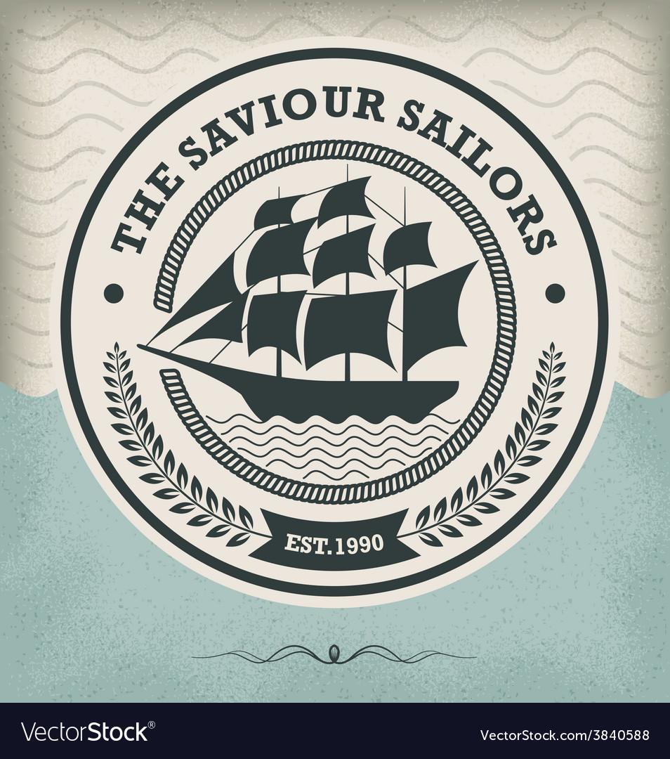 Sailing ship vintage nautical emblem vector | Price: 1 Credit (USD $1)