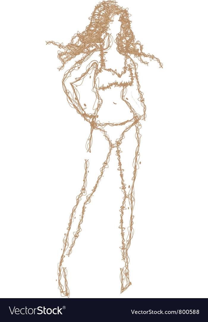 Sketch of girl vector   Price: 1 Credit (USD $1)