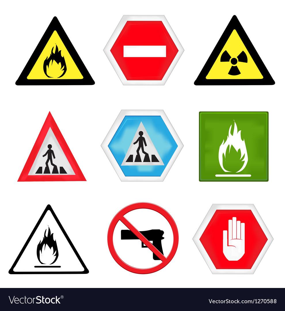 Various warning signs vector | Price: 1 Credit (USD $1)