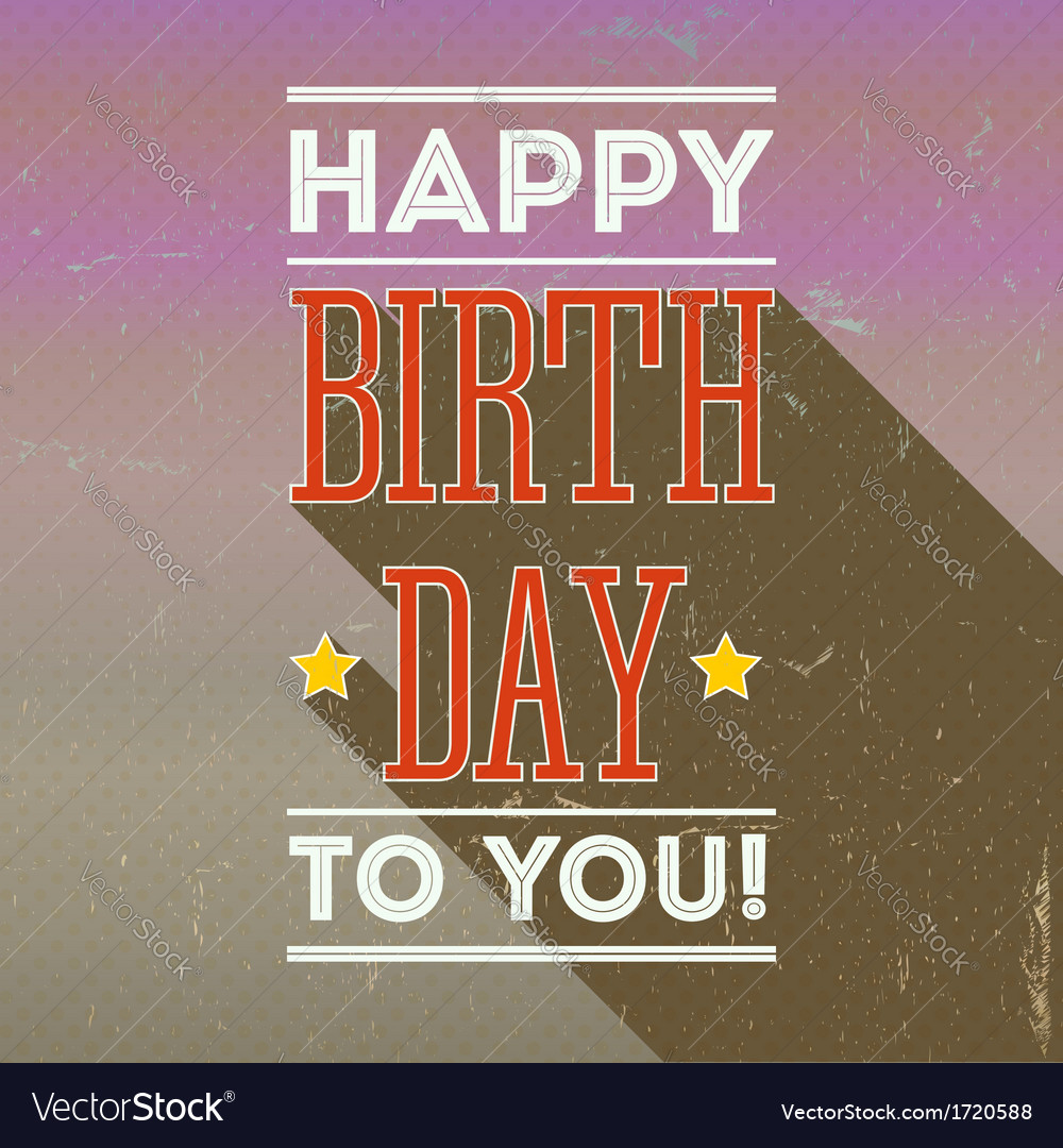Vintage retro happy birthday card fonts vector | Price: 1 Credit (USD $1)