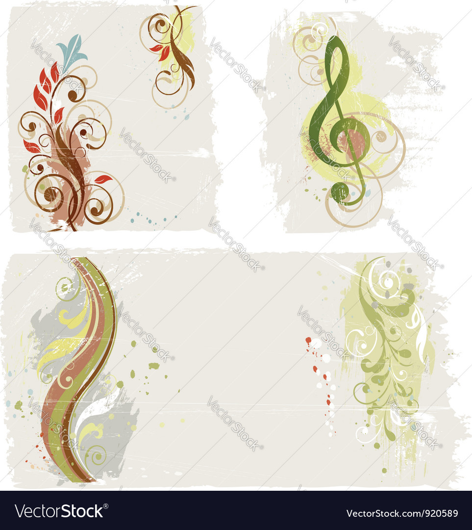 Abstract grunge design elements set vector | Price:  Credit (USD $)