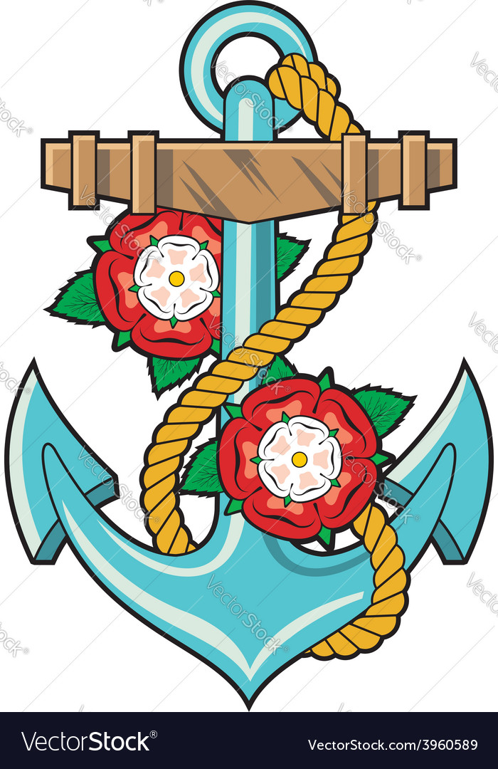 Anchor and roses tattoo vector | Price: 1 Credit (USD $1)