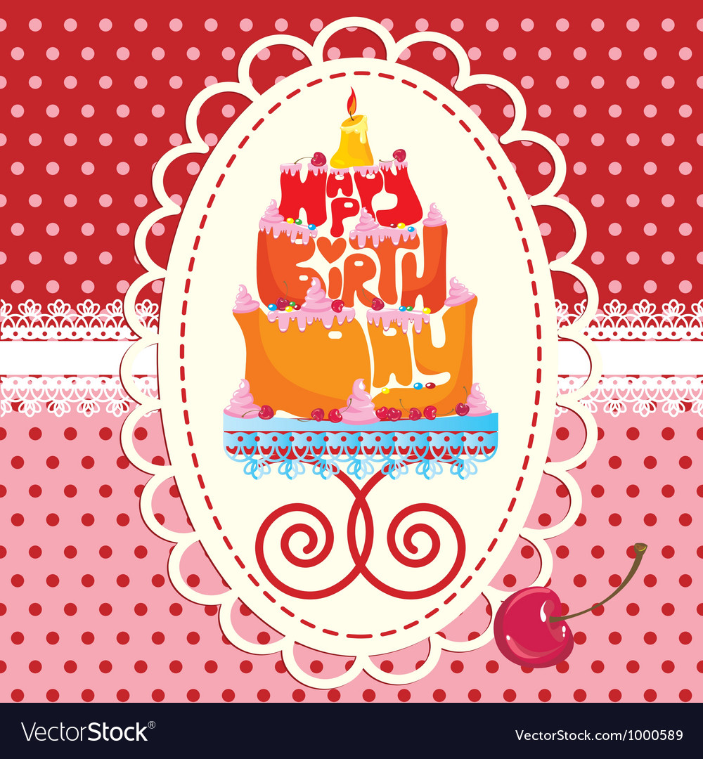 Cake formed from happy birthday text - card vector | Price: 1 Credit (USD $1)