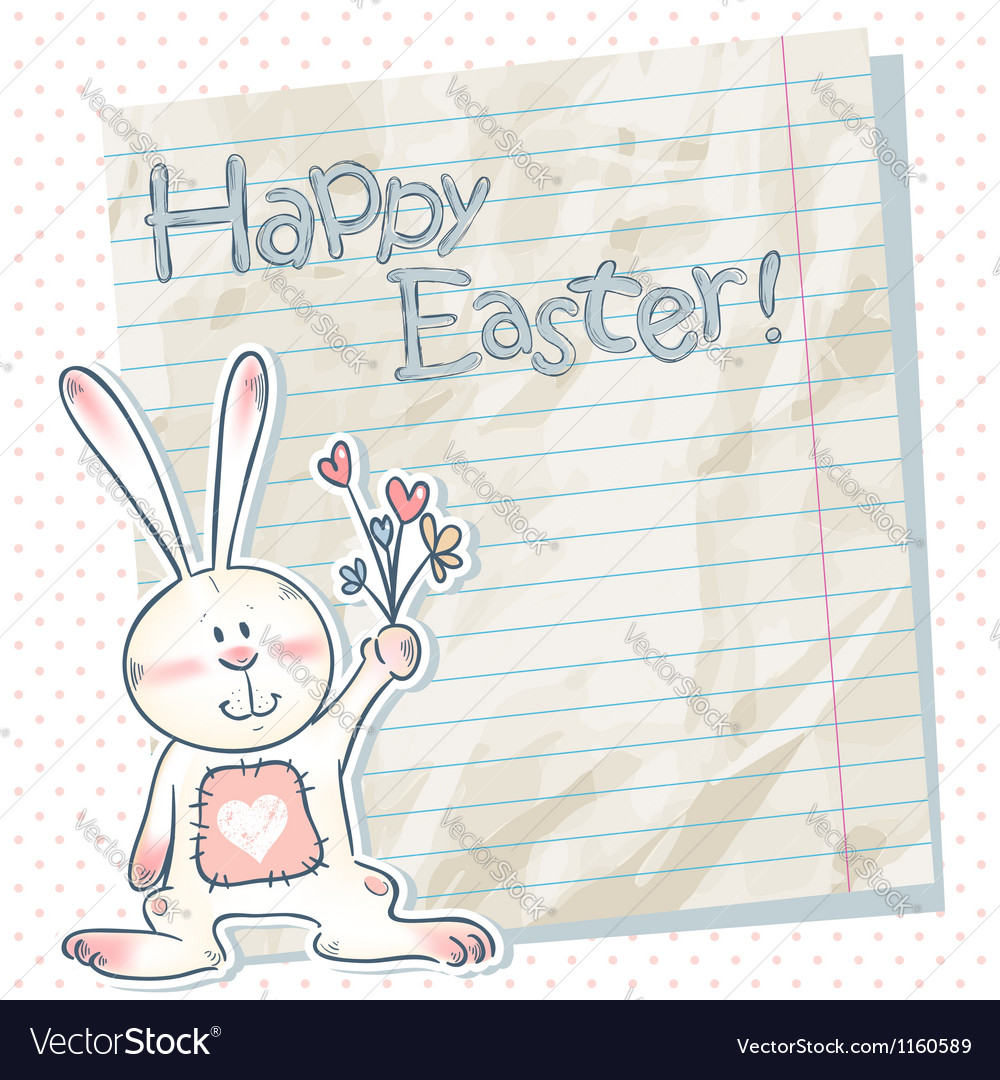 Easter cartoon bunny on a notebook scrap paper vector | Price: 1 Credit (USD $1)