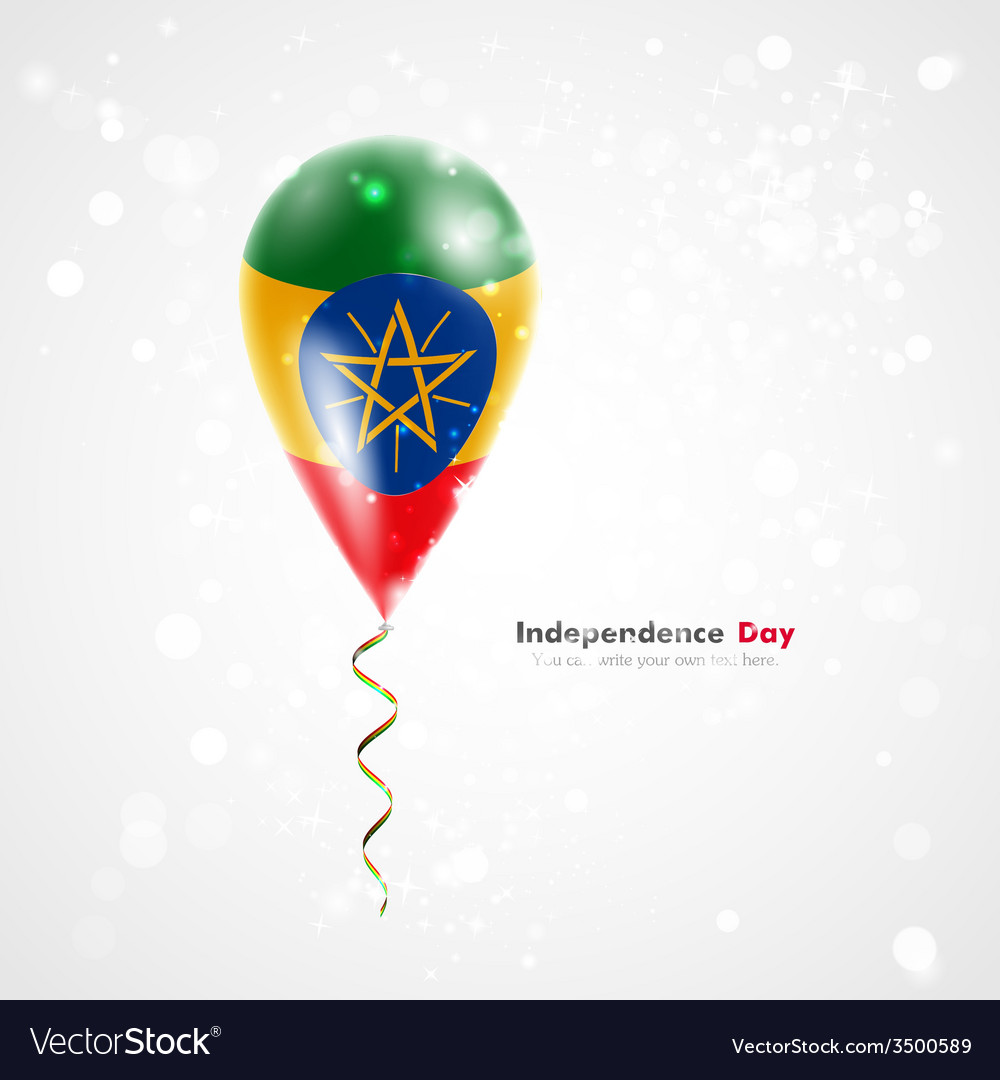 Flag of ethiopia on balloon vector | Price: 1 Credit (USD $1)