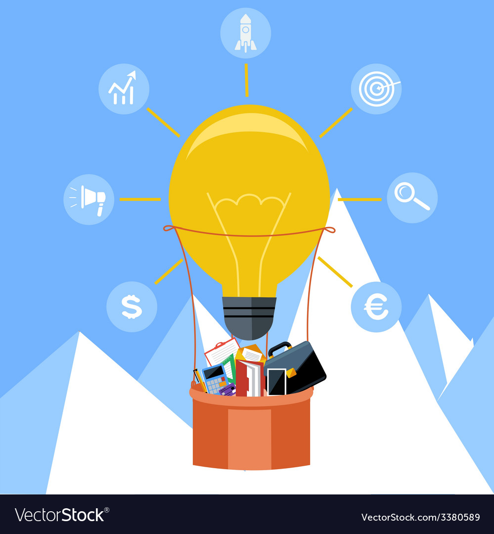 Hot air balloon made of lightbulb vector | Price: 1 Credit (USD $1)