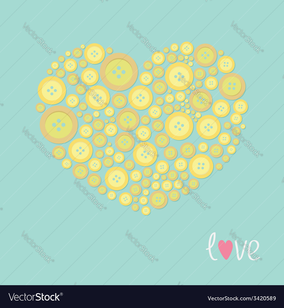 Yellow heart made from buttons love card flat desi vector | Price: 1 Credit (USD $1)
