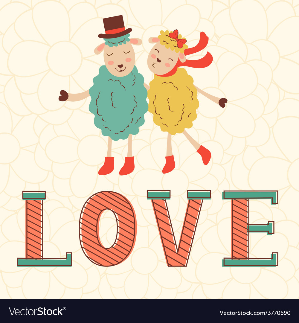 Cute valentines day card with cute happy sheeps vector | Price: 1 Credit (USD $1)