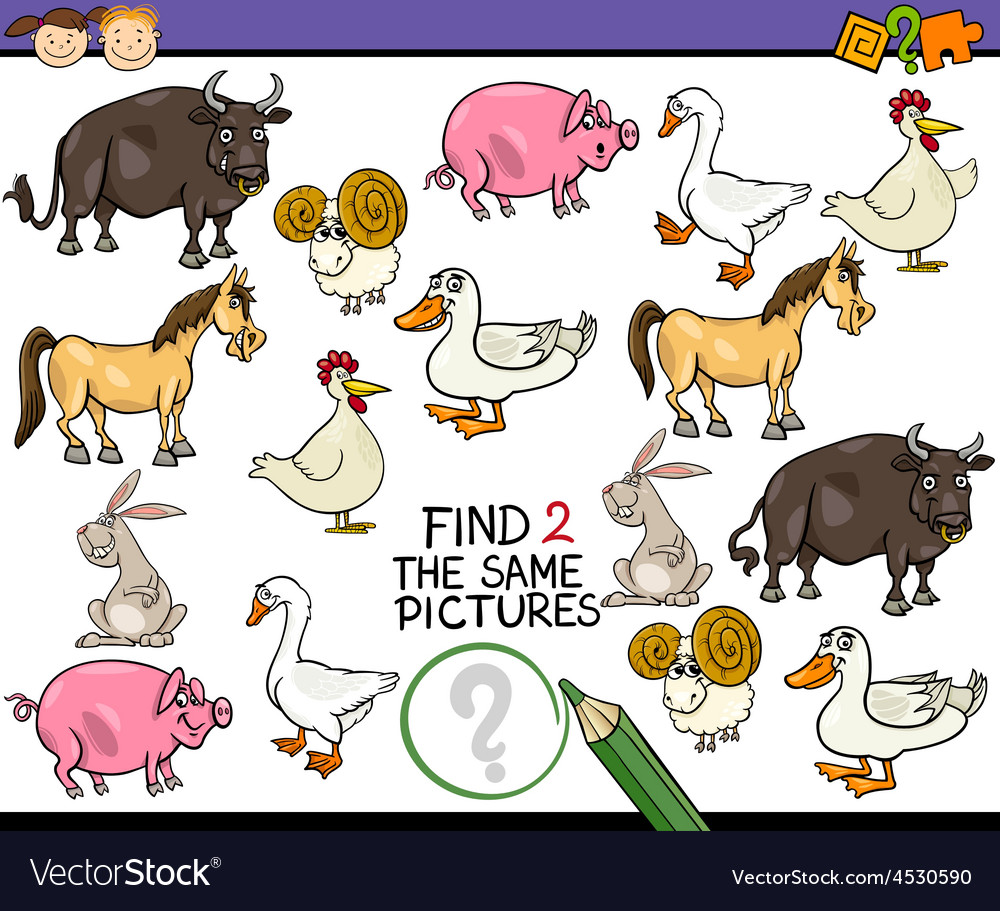 Find same picture game cartoon vector | Price: 1 Credit (USD $1)