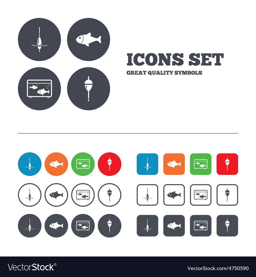 Fishing icons fish with fishermen hook symbol vector | Price: 1 Credit (USD $1)