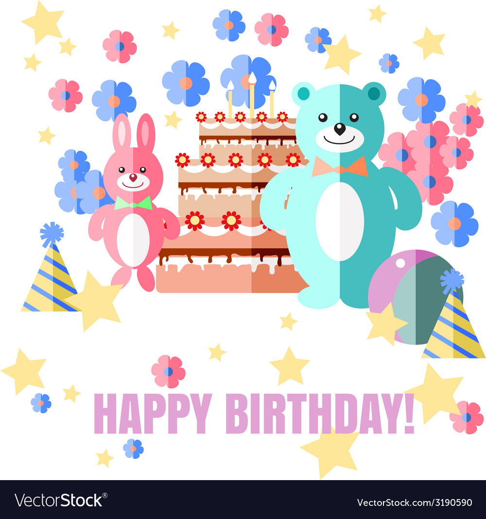 Happy birthday card with sweets gifts and balloons vector | Price: 1 Credit (USD $1)