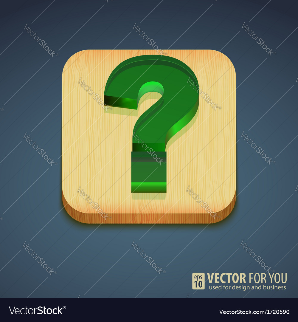 Question mark on a wooden stand reflections vector | Price: 1 Credit (USD $1)