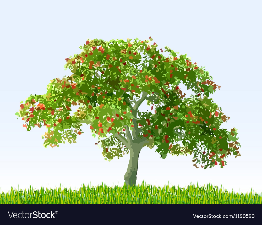 Summer landscape with sky green grass and tree vector | Price: 1 Credit (USD $1)