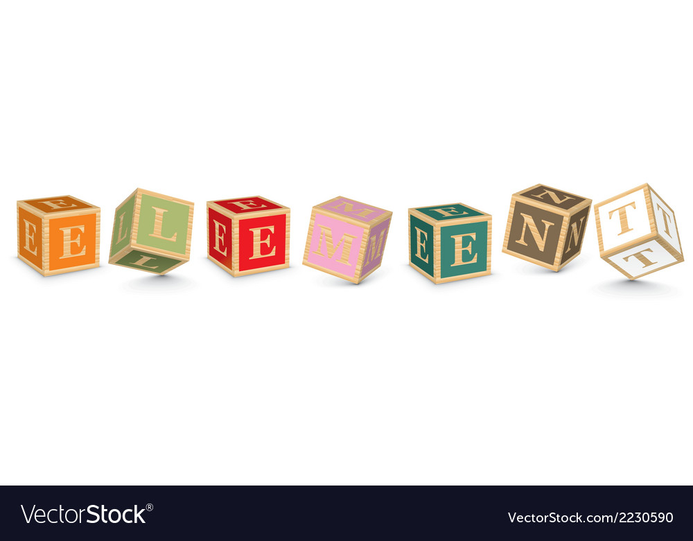 Word element written with alphabet blocks vector | Price: 1 Credit (USD $1)