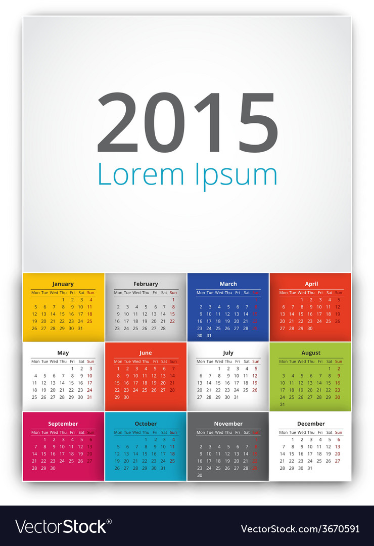 2015 calendar vector | Price: 1 Credit (USD $1)