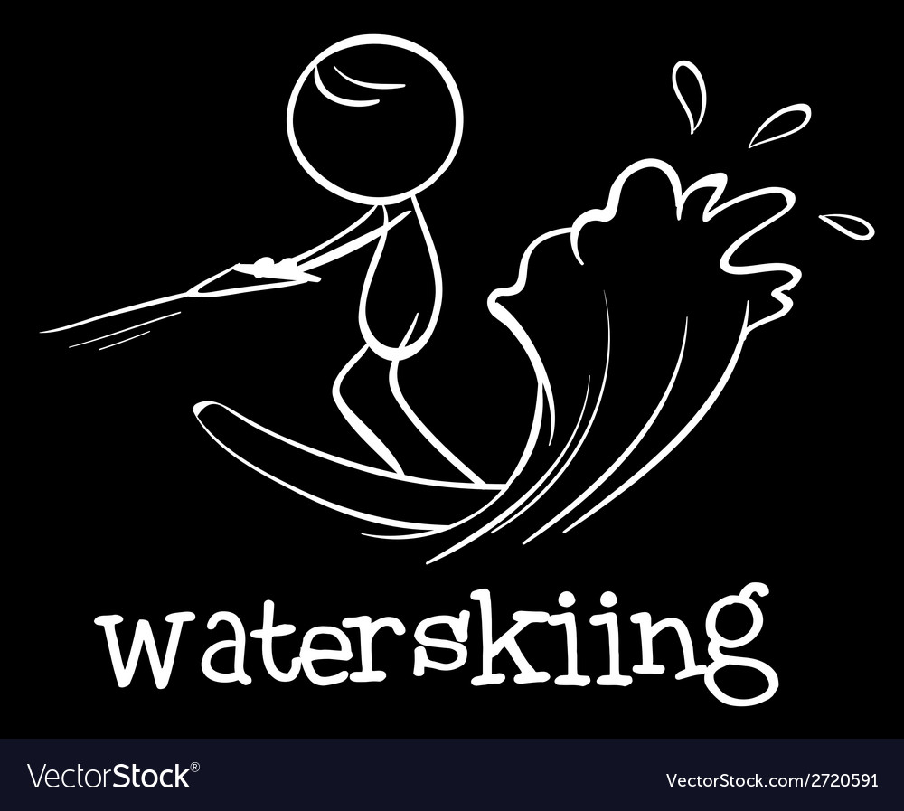 A man doing waterskiing vector | Price: 1 Credit (USD $1)