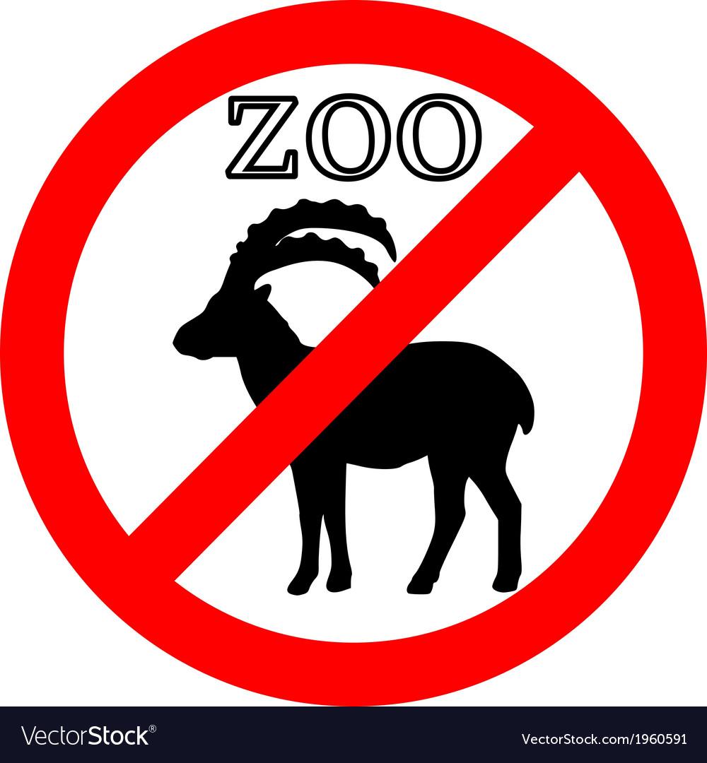 Alpine ibex in zoo prohibited vector | Price: 1 Credit (USD $1)
