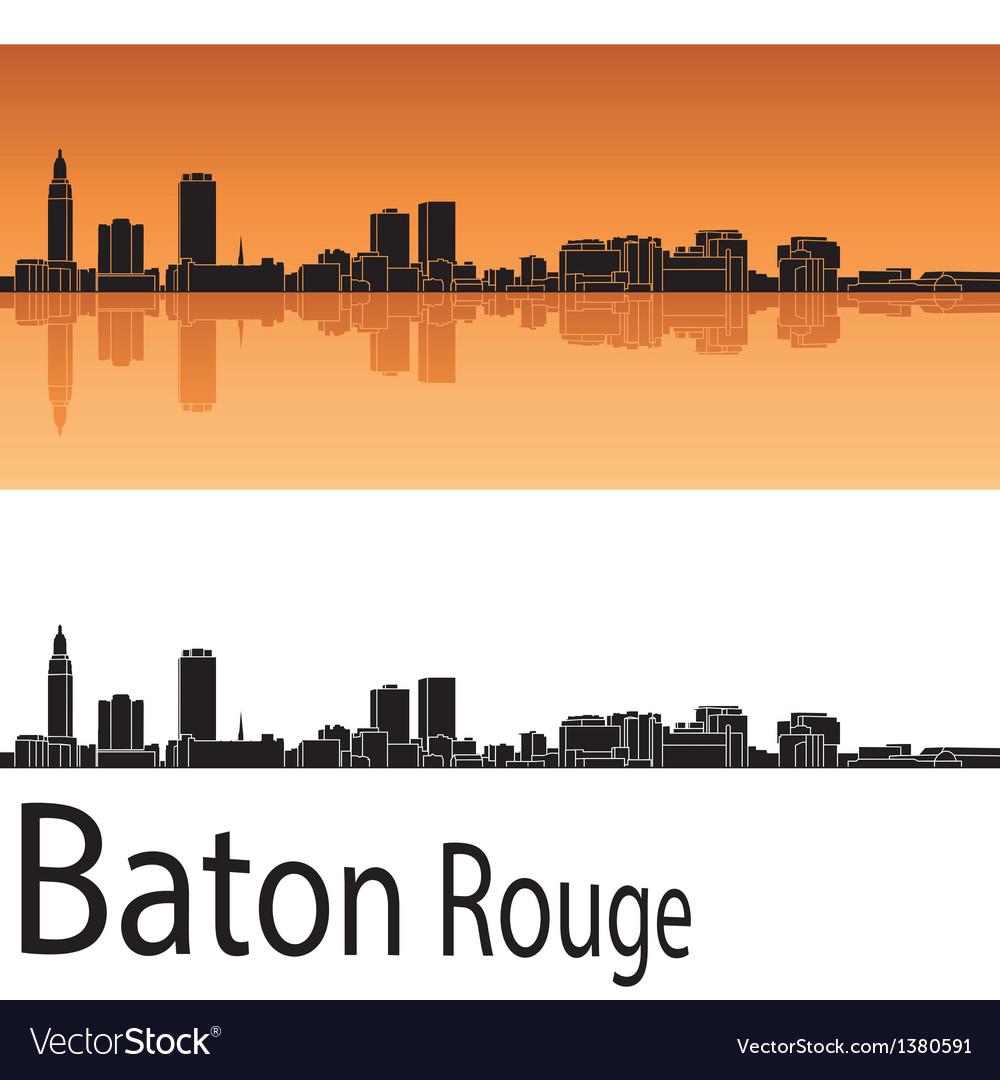 Baton rouge skyline in orange background vector   Price: 1 Credit (USD $1)