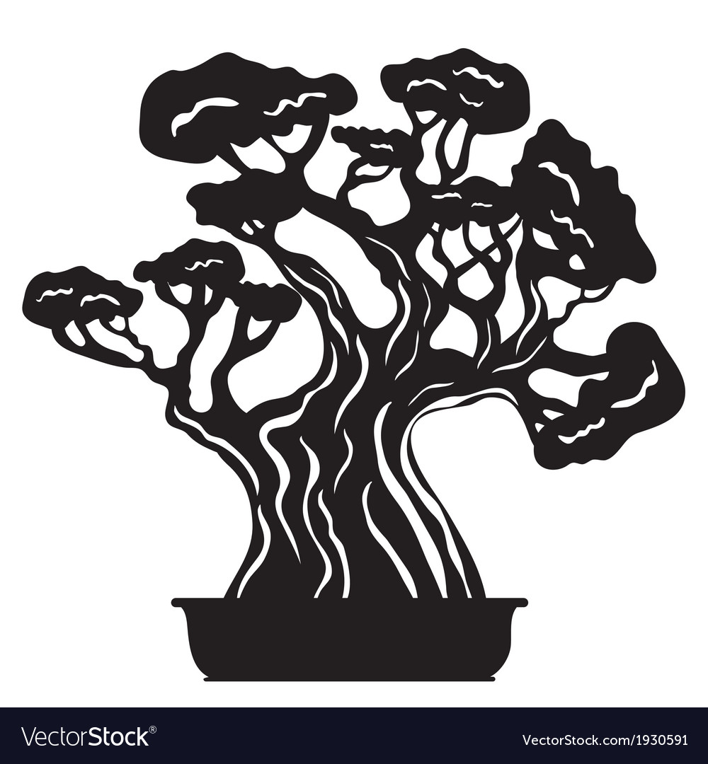 Bonsai tree silhouette vector | Price: 1 Credit (USD $1)