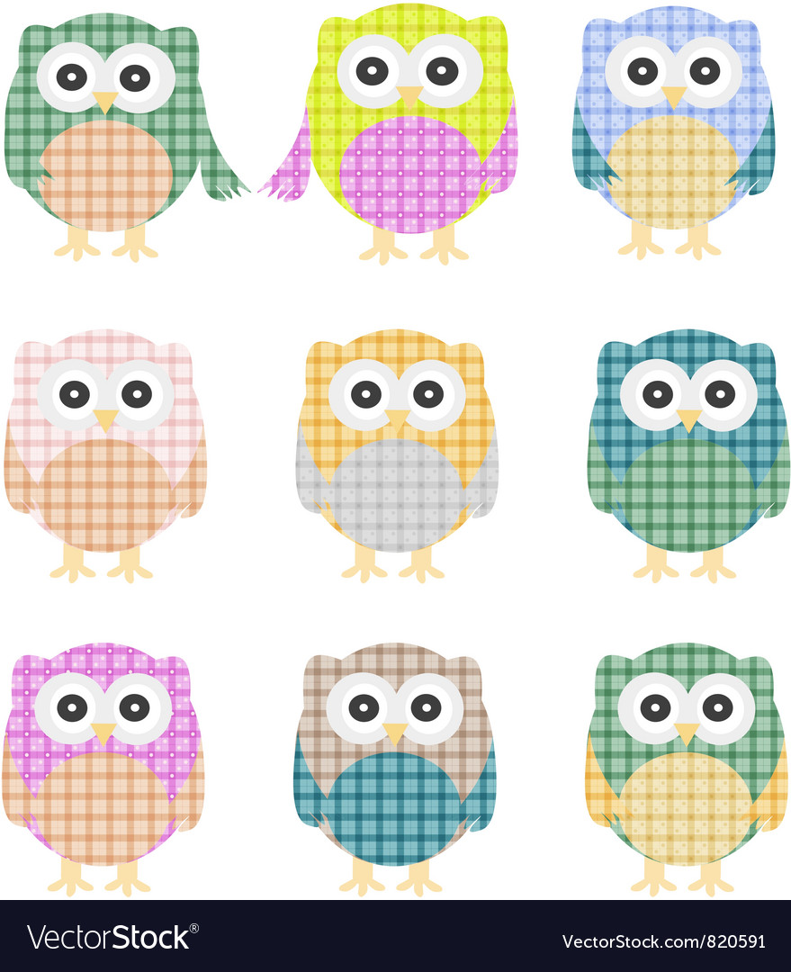 Colorful owls isolated on white vector | Price: 1 Credit (USD $1)
