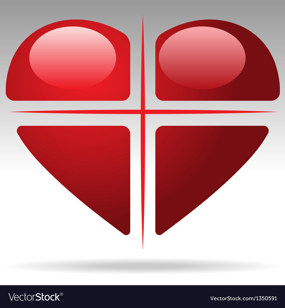 Cross heart vector | Price: 1 Credit (USD $1)