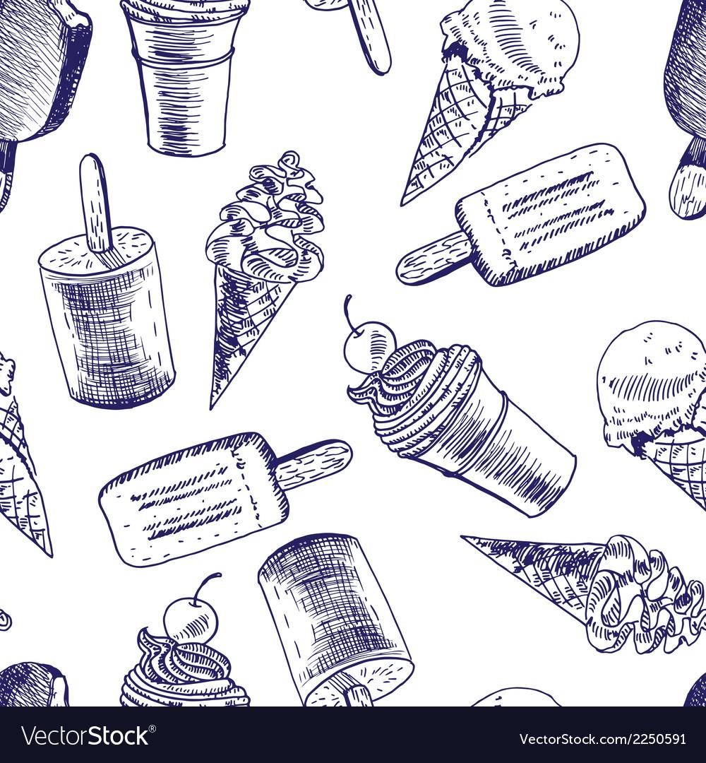 Doodle ice cream seamless background vector | Price: 1 Credit (USD $1)