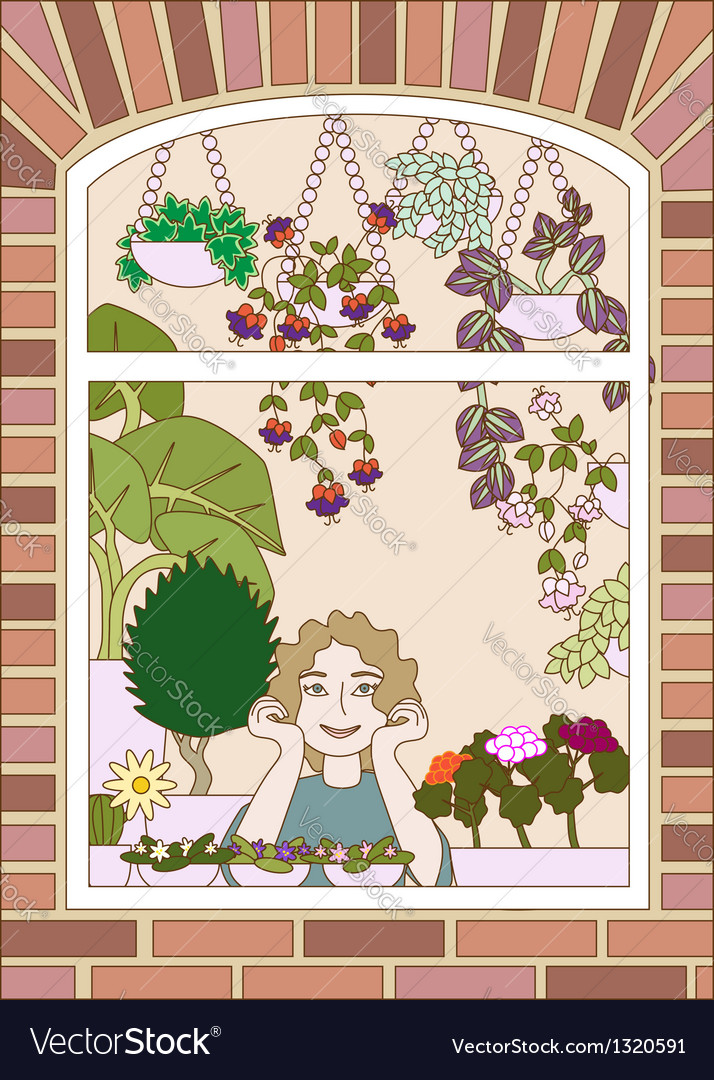Girl looking trough a window with plenty flowers vector | Price: 1 Credit (USD $1)