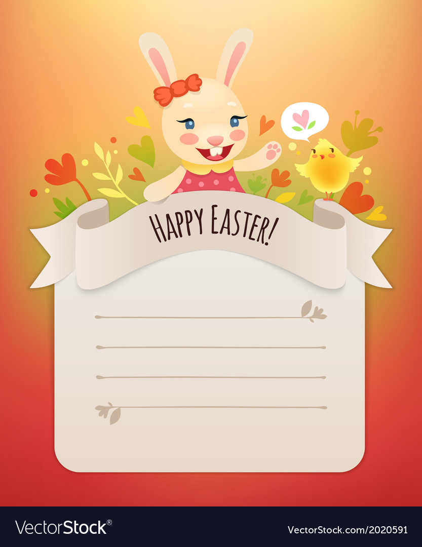 Happy easter bunny girl greeting card vector | Price: 1 Credit (USD $1)
