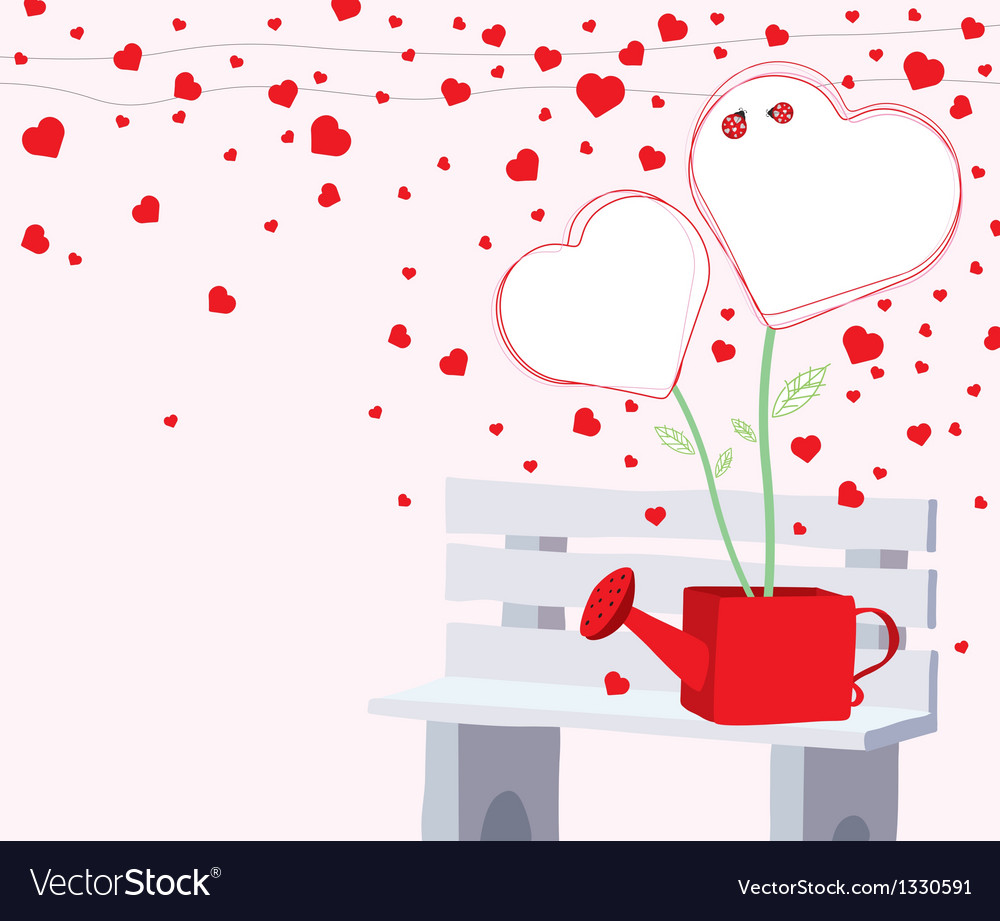 Heart tree in the water can on the chair vector | Price: 1 Credit (USD $1)