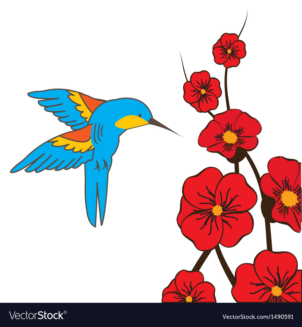 Himmingbird moth feeding on flowers in summer vector | Price: 1 Credit (USD $1)