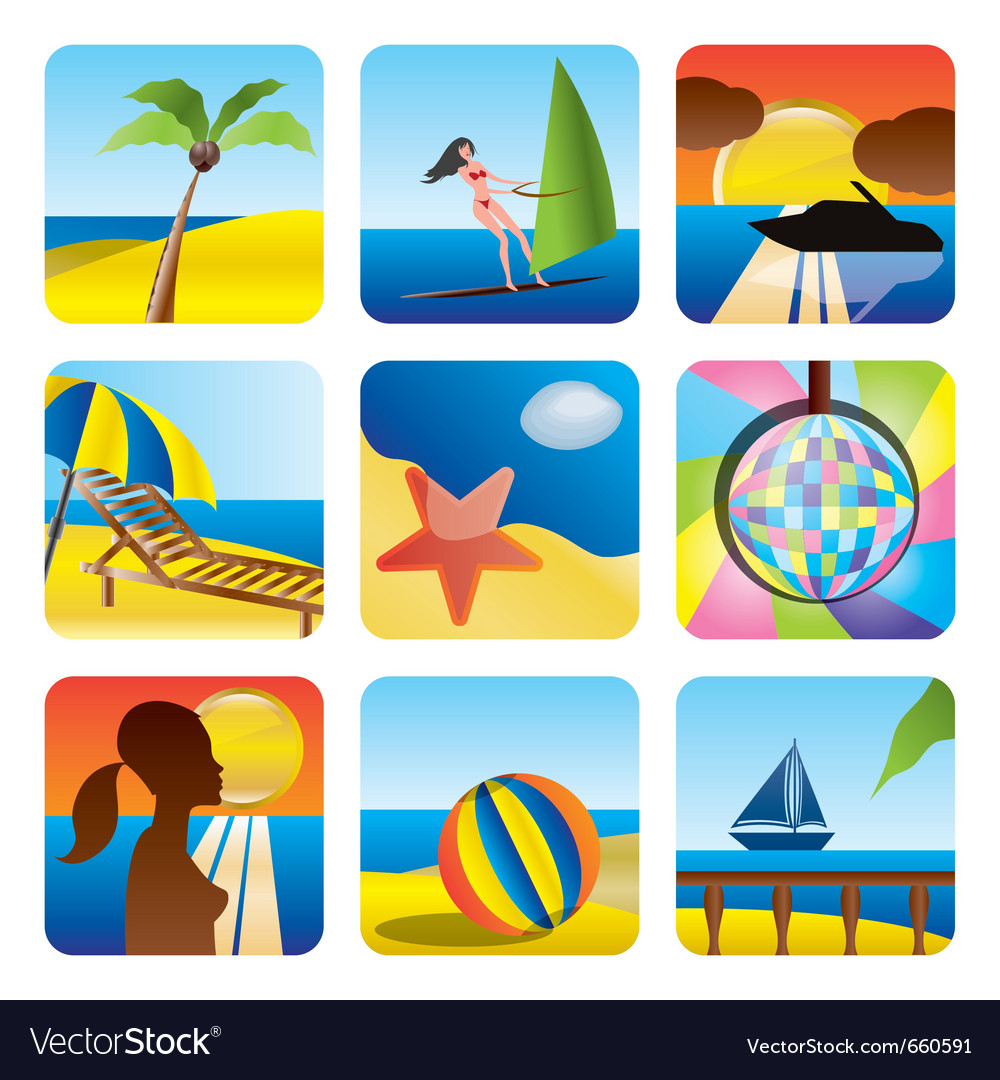Holiday and sea icons vector | Price: 1 Credit (USD $1)