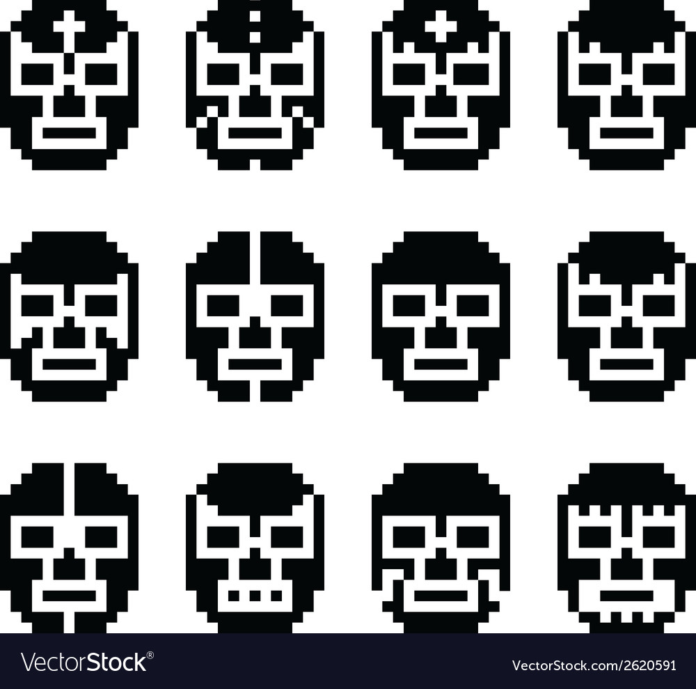 Lucha libre luchador pixelated mexican mask vector | Price: 1 Credit (USD $1)