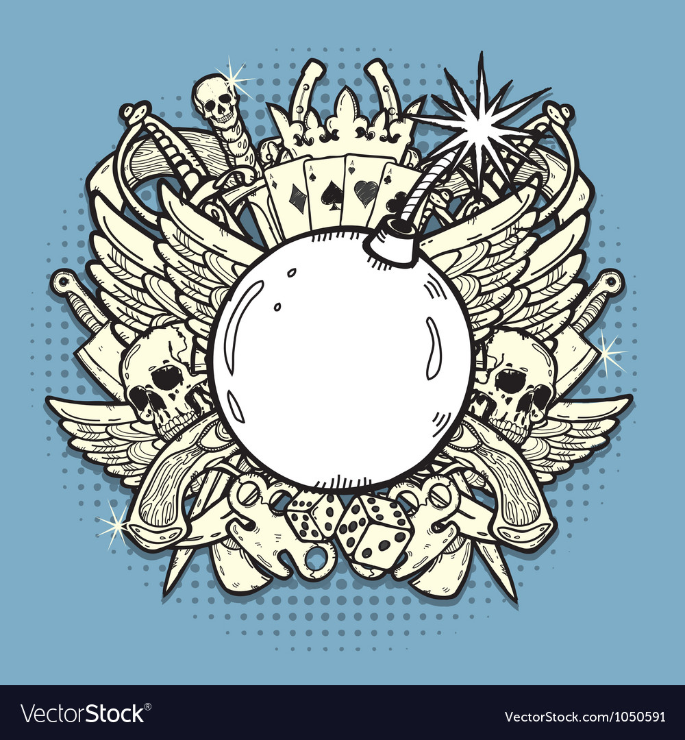 Pirate label with bomb vector | Price: 1 Credit (USD $1)