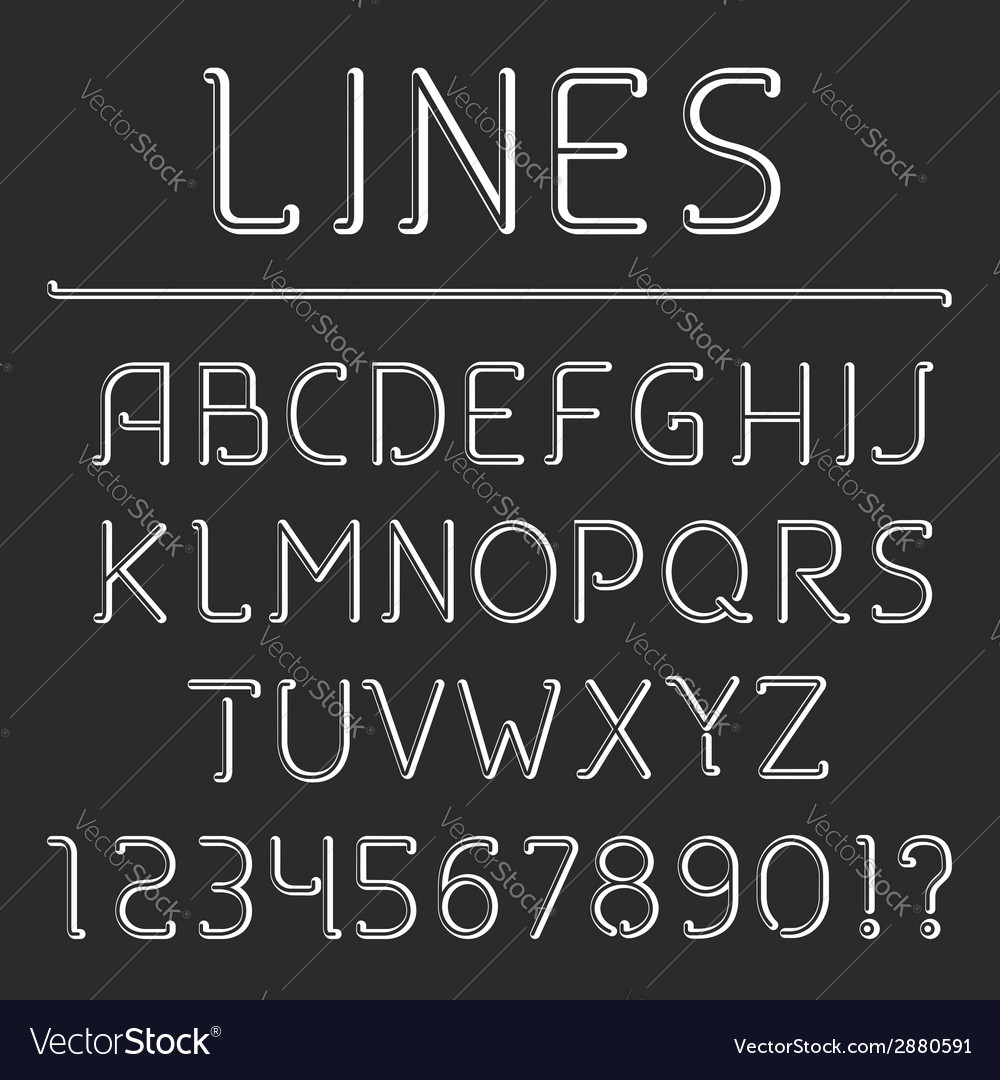 Retro line alphabet and numbers vector | Price: 1 Credit (USD $1)