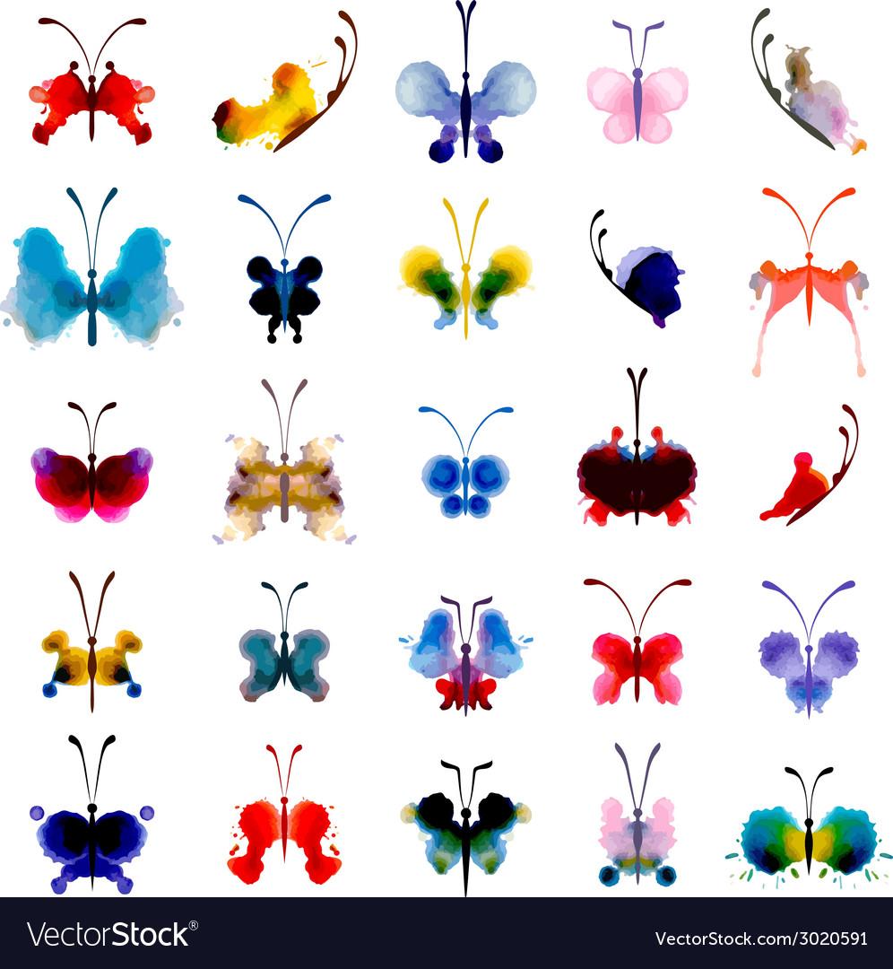 Set of butterflies from watercolor blots vector | Price: 1 Credit (USD $1)