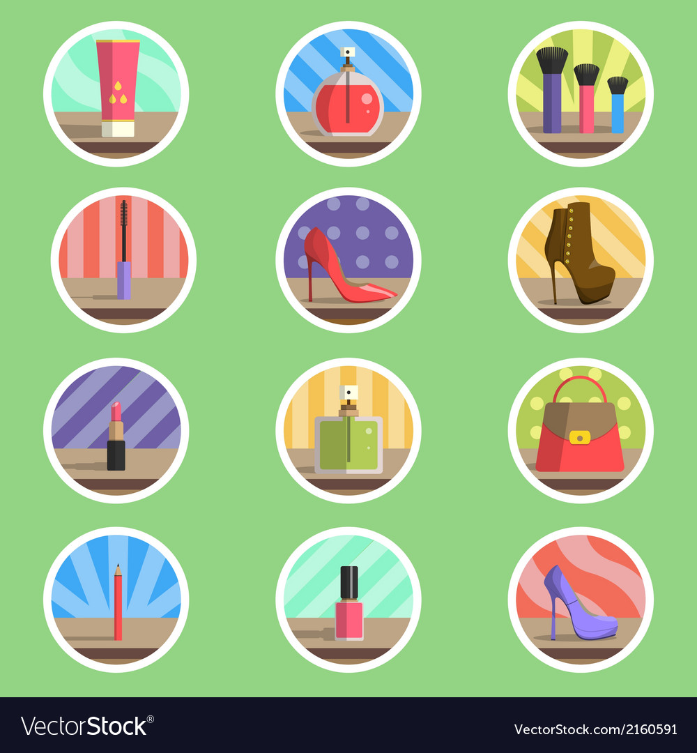 Woman stuff flat icon vector | Price: 1 Credit (USD $1)