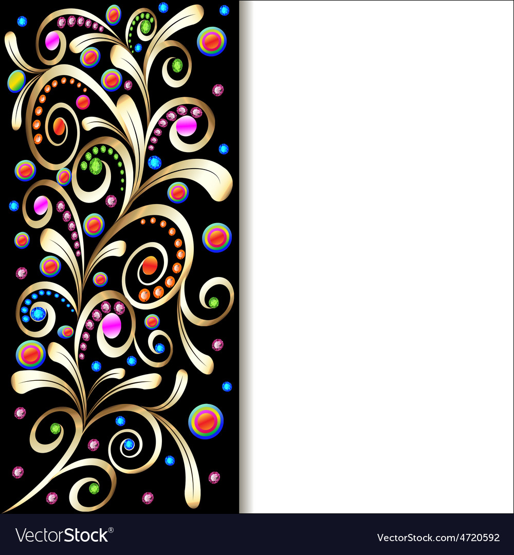 Background with ornament with swirls of gold vector | Price: 1 Credit (USD $1)