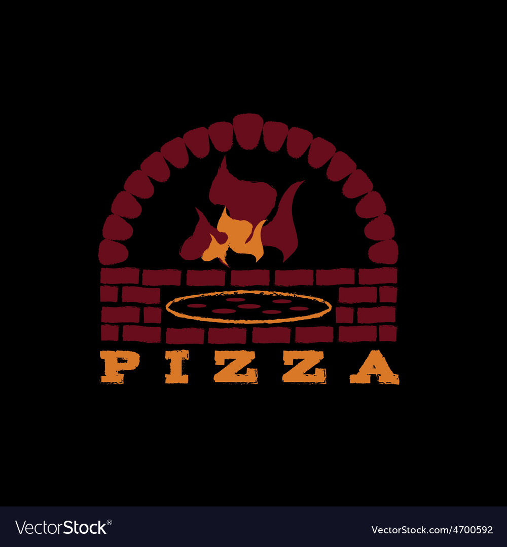 Brick oven pizza on black background vector | Price: 1 Credit (USD $1)