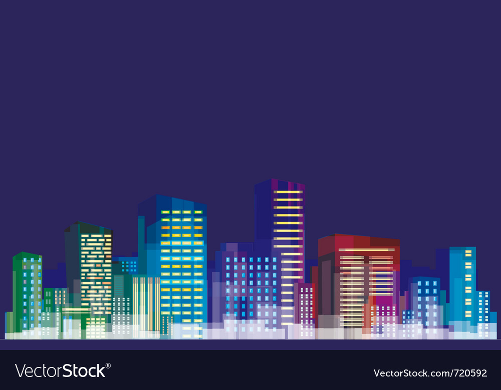 Colorful panorama of city vector | Price: 1 Credit (USD $1)