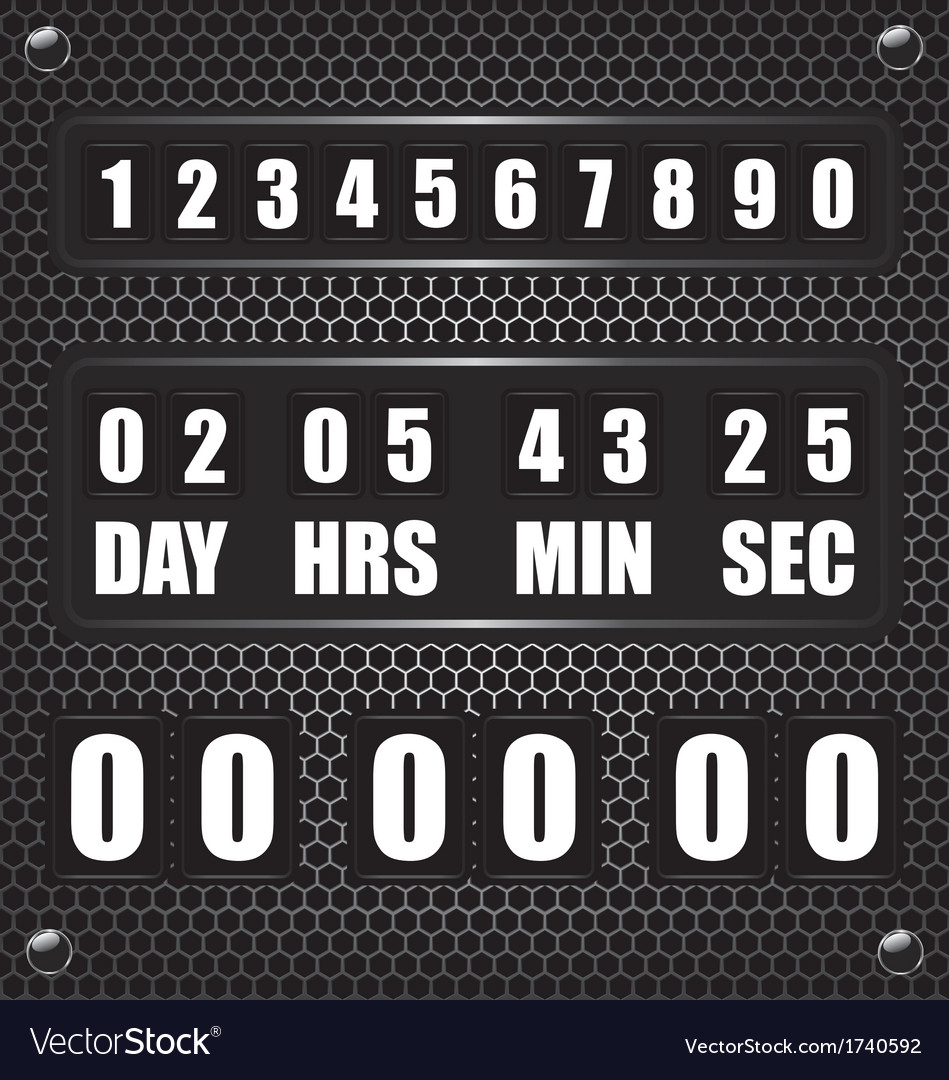 Countdown timer on octagon metal background vector | Price: 1 Credit (USD $1)