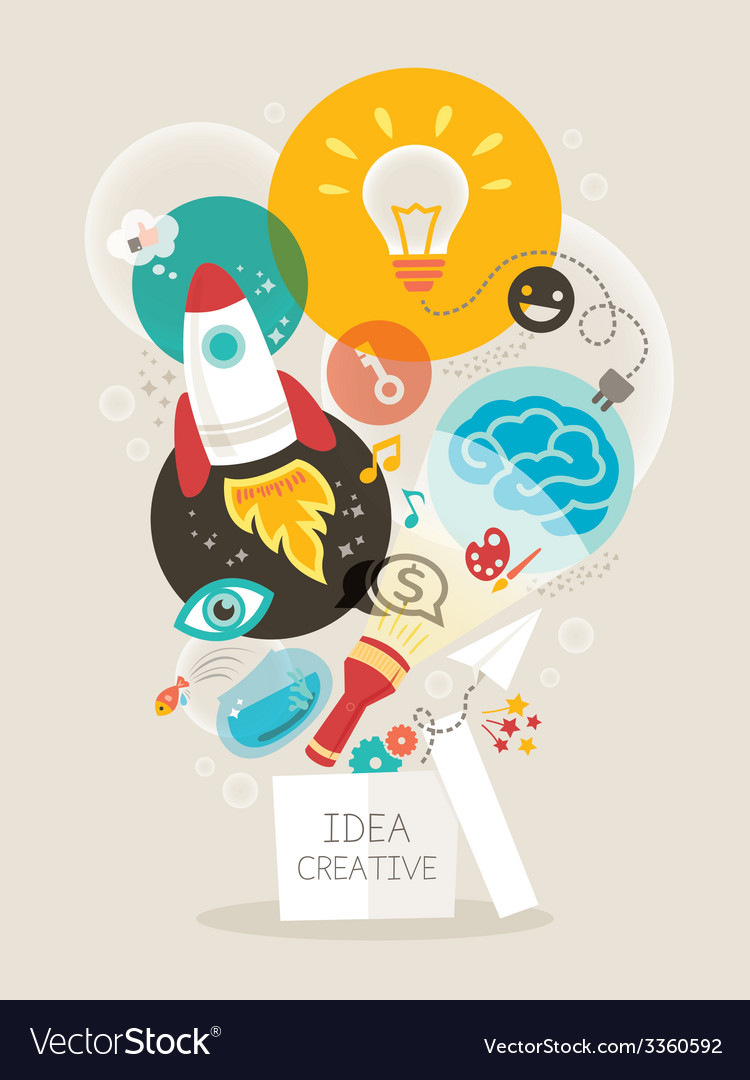 Creative idea think out of the box vector | Price: 1 Credit (USD $1)