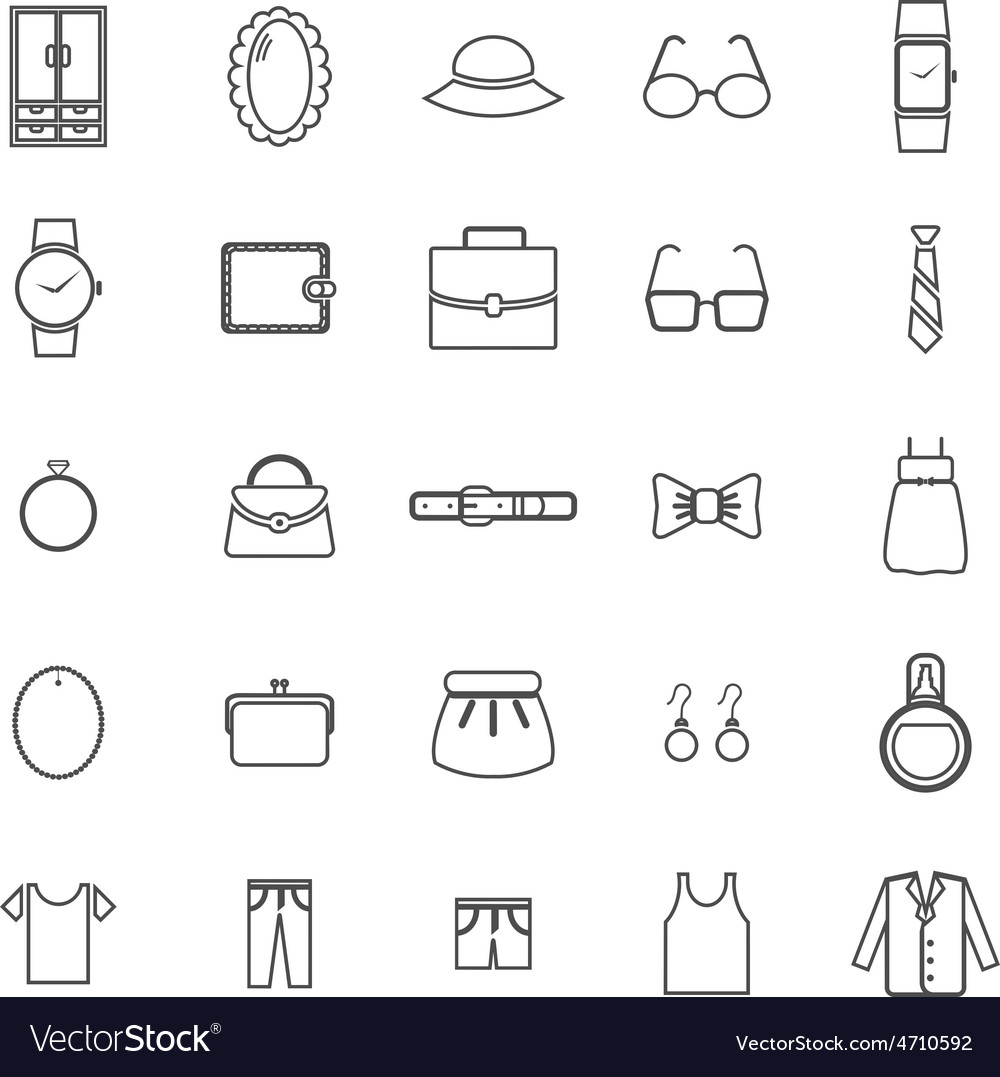 Dressing line icons on white background vector   Price: 1 Credit (USD $1)